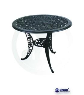 MS-116 90 cm Çap 3 ayaklı güllü dekoratif alüminyum döküm masa
