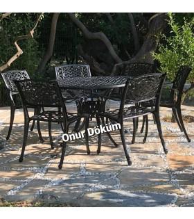MT-01 Alüminyum döküm 6 adet geniş oturumlu sandalye Alüminyum döküm 1 adet Çap: 120cm masa bahçe balkon takımı