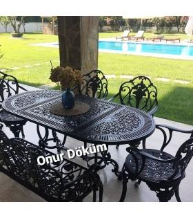 MT-02 Alüminyum döküm 4 adet kollu sandalye ve 1 adet bank masa Alüminyum döküm 1 adet 70cm*150cm oval masa bahçe balkon takımı
