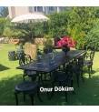 MT-03 Alüminyum döküm 6 adet kollu güllü sandalye ve 2 tabure Alüminyum döküm 1 adet 80cm*240cm masa  bahçe balkon takımı