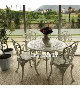 MT-06 Alüminyum döküm 4 Adet Güllü Kollu Sandalye Alüminyum döküm 1 Adet Çap 90 cm masa bahçe balkon takımı
