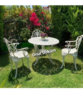 MT-07 Alüminyum döküm 3 Adet Güllü Kollu Sandalye  Alüminyum döküm 1 Adet Çap 90 cm masa bahçe balkon takımı