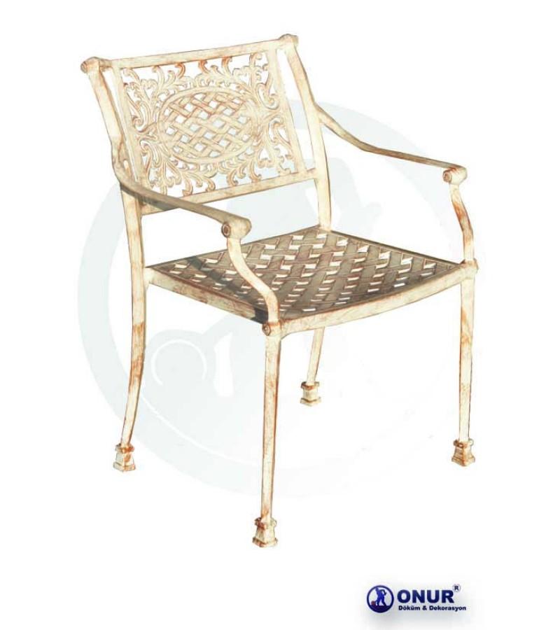 SN-112 Elektrostatik boyalı alüminyum döküm geniş oturumlu  dış mekan kollu bahçe sandalyesi