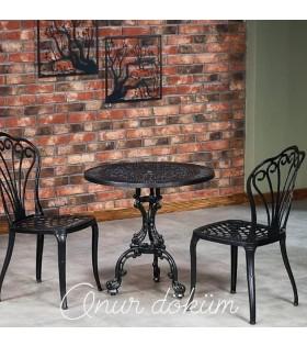 MT-11 Alüminyum döküm 2 adet tavus kuşlu kolsuz sandalye Alüminyum döküm 1 adet Çap: 70 cm masa bahçe balkon takımı