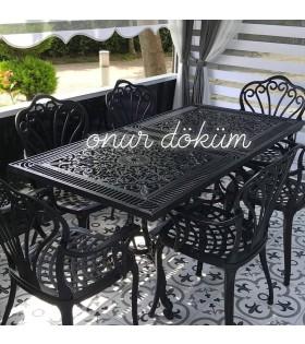 MT-12 Alüminyum döküm 6 adet tavus kuşlu kollu sandalye Alüminyum döküm 1 adet 80cm*160cm diktörtgen masa  balkon takımı
