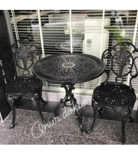 MT-14 Alüminyum döküm 2 adet gül figürlü kolsuz sandalye Alüminyum döküm 1 adet Çap: 70cm masa bahçe balkon takımı