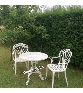 MT-16 Alüminyum döküm 2 adet kollu tavus kuşlu sandalye Alüminyum döküm1 adet Çap: 70 cm masa bahçe balkon takımı