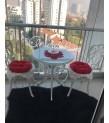 MT-15 Alüminyum döküm 2 Adet Güllü Kolsuz Sandalye Alüminyum döküm 1 Adet Çap 65 cm masa balkon takımı