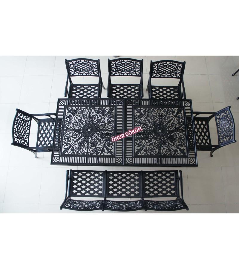 MT-17 Alüminyum döküm 1 adet 100cm*200cm diktörtgen masa, 5 adet kollu geniş oturumlu sandalye, 1 adet geniş oturumlu bank masa balkon takımı
