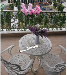 MT-21 Alüminyum döküm 2 Adet Güllü Kollu Sandalye Alüminyum döküm 1 Adet Çap 65 cm masa balkon takımı