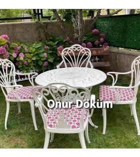 MT-24 Alüminyum döküm 4 adet kollu tavus kuşlu sandalye Alüminyum döküm 1 Adet Çap 90 cm masa bahçe balkon takımı