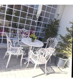 MT-25 Alüminyum döküm 4 adet kollu tavus kuşlu sandalye Alüminyum döküm 1 Adet Çap 70 cm masa aslan pik döküm ayak balkon takımı