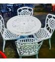 MT-26 Alüminyum döküm 4 Adet kolsuz yuvarlak sırtlı sandalye Alüminyum döküm 1 adet çap 70 cm masa bahçe balkon takımı